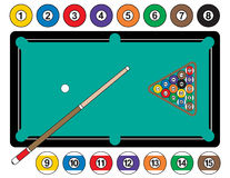 Billiard Balls and Table. A vector illustration of a pool table, complete with billiard balls, cue stick and rack. Balls are individually grouped to use Royalty Free Stock Photography