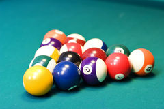 Billiard balls and table. Racked billiard balls, ready for the break Royalty Free Stock Photography