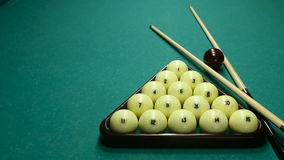 Billiard balls on the table with the cue stock video