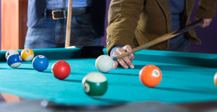 Billiard balls on table stock image