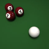 Billiard balls with three number seven Royalty Free Stock Photography