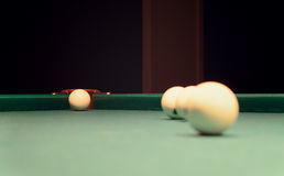 Billiard Balls on Top of Pool Table Royalty Free Stock Image