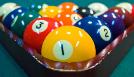 Billiard Balls and Triangle Stock Images