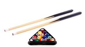 Billiard balls in a triangle. Colorful billiard balls in a triangle and cues isolated on white background Stock Photos