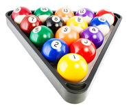 Billiard balls in triangle. Spots and stripes pool balls triangle blac isolated on white  background Stock Photo