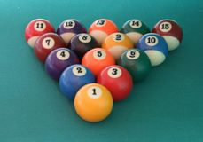 Billiard balls triangle Royalty Free Stock Images