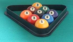 Billiard balls triangle Stock Images