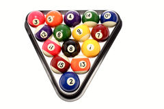 Billiard balls in triangle. Overview of billiard balls racked in triangle, isolated on white background Royalty Free Stock Image