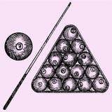 Billiard balls in triangle, billiard ball and cue Stock Photo
