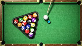Billiard balls, triangle, chalk and cue on pool table. 3D illustration.  Royalty Free Stock Image