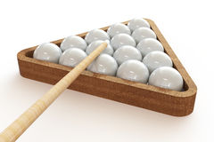 Billiard balls in the triangle and cue. 3d illustration on  white background Stock Photography