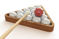 Billiard balls in the triangle and cue. Royalty Free Stock Images