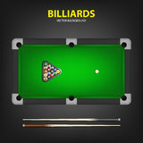 Billiard balls in triangle and two cues on a pool table. Stock Photography