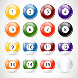 Billiard Balls. Vector Illustration of different isolated Billiard Balls Stock Images