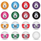 Billiard balls,vector. On a white background with a shadow Stock Illustration