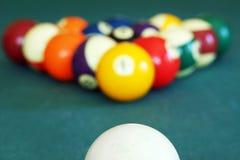 Billiard balls. With white ready to break stock photo