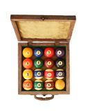 Billiard balls in wooden box Royalty Free Stock Photos