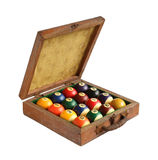 Billiard balls in wooden box Royalty Free Stock Images