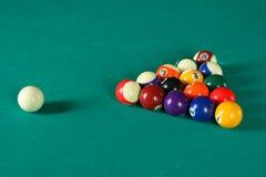 Billiard balls6. Billiard balls on green table Stock Images