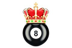 Billiard black eight ball with royal crown, 3D rendering. Isolated on white background Stock Photo