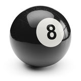Billiard black eight ball.  on white background. 3d Royalty Free Stock Photography