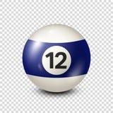 Billiard,blue pool ball with number 12.Snooker. Transparent background.Vector illustration. vector illustration