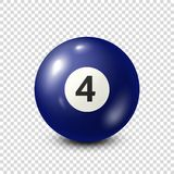 Billiard,blue pool ball with number 4.Snooker. Transparent background.Vector illustration. Billiard,blue pool ball with number 4.Snooker. Transparent background royalty free illustration