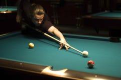 billiard boy playing στοκ εικόνα