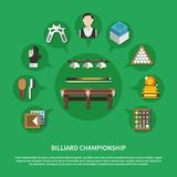 Billiard Championship Flat Composition. On green background with game equipment, players, trophy, cleaning accessories vector illustration vector illustration