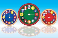 Billiard clock. Illustration of billiard theme clocks in 3 color versions Royalty Free Stock Photography