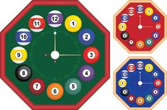 Billiard clock octagon. Shape, tree color versions, no gradients used Stock Photos