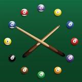 Billiard Clock. Pool billiard balls clock. Three-dimensional vector illustration on green gradient background Stock Photo