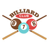 Billiard club vector label template of crossed pool cues and balls Stock Images