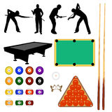 Billiard collection - vector. Billiard balls, peopole playing, tables Royalty Free Stock Image