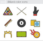 Billiard color icons set Royalty Free Stock Images