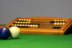 Billiard counter points on a table. Three billiard balls on a billiard table with a wodden counter points Stock Image