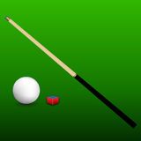 Billiard Cue, Ball and Chalk Royalty Free Stock Photography
