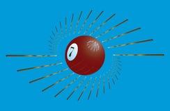 Billiard cue and ball stock illustration