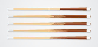 Billiard cue sticks on white background. EPS 10 Stock Photography