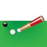 Billiard cue with white and black ball Stock Images