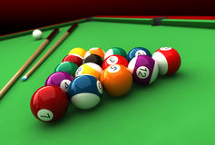 Billiard. 3d render of billiard balls and table Royalty Free Stock Photos
