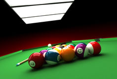 Billiard. 3d render of billiard balls and table Royalty Free Stock Images