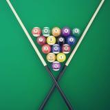 Billiard elements on a green table. 3d illustration Royalty Free Stock Photos