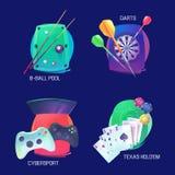 Billiard eller pöl, pilar och videospelsportlogo stock illustrationer