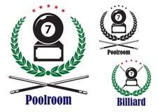 Billiard eller pölemblem eller emblem Royaltyfri Fotografi
