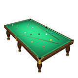Billiard game balls position on a realistic pool table with cues. Royalty Free Stock Photo