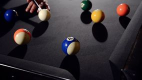 Billiard game situation stock footage