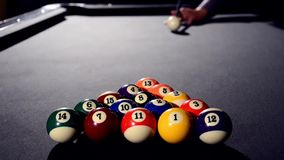 Billiard game situation stock video footage