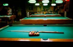 Billiard game- snooker balls on green table. Beginning game stock image