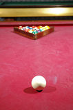 Billiard game table with balls and cue royalty free stock photo